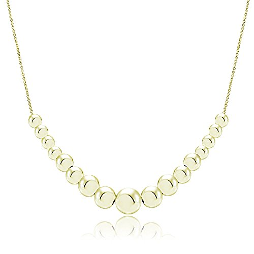 Gold Bead Graduated (Hoops & Loops Flash Plated Gold Sterling Silver Graduated Polished Bead Necklace)