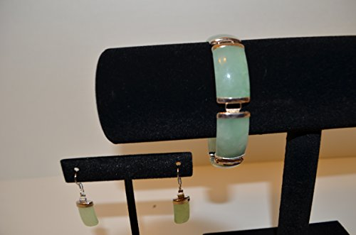 Rectangular Jade Bracelet and Earring Set - Bracelet Set Radiant