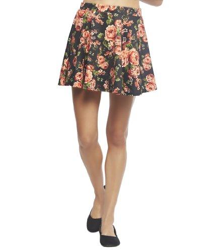 Wet Seal Women's Floral Bouquet Ponte Skater Skirt L Black Pattern
