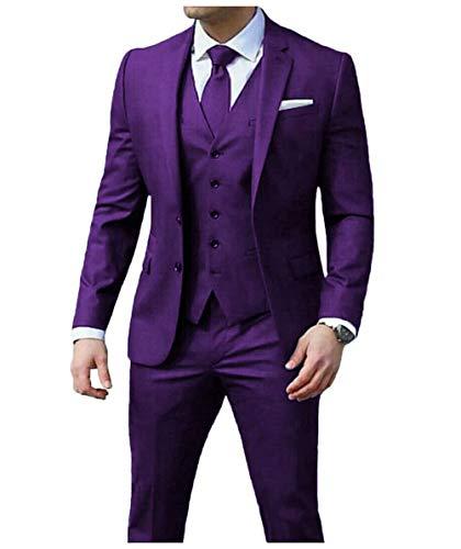 Jingmo Men's Suit Set (Jacket+Vest+Pants) Formal 3 Piece Suits for Men Slim fit by Jingmo