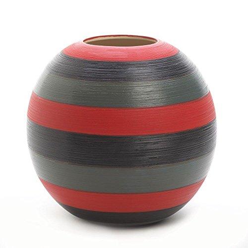 Stripe Vases (GHP Safari Round Black/Red/Gray Stripe Vase)