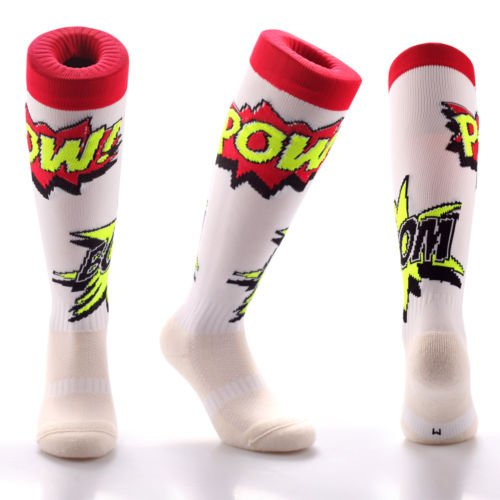 Samson Hosiery Funky Sports Knee High Soccer Rugby Football Socks (Comic Pow, Medium 3-6 - Triathlon Uk Equipment