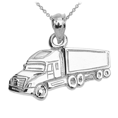 CaliRoseJewelry 925 Sterling Silver Big Rig Truck Driver Necklace (25mm x 19mm) Weight: 3.7 Grams, 16