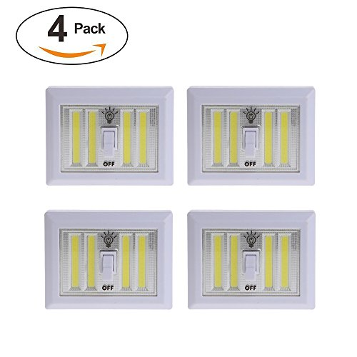Dual Cob LED Night Light With Switch - ULTRA BRIGHT - New LED Technology - Super Bright LED Lights - Project Light - Night Light - 400 Lumens (White 4 Pack)