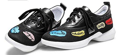 YEEY Primavera y verano de malla transpirable deportes de las mujeres zapatillas de Running máquina de zapatos de deporte de ocio eléctrico bordado Black