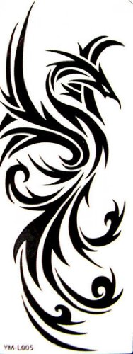 SPESTYLE waterproof non-toxic temporary tattoo stickersWaterproof temp tattoos black totem phoenix (Tattoo Phoenix)