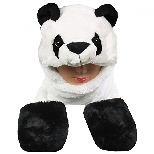 [Panda_(US Seller)New Plush Cartoon Hat Long Warm Full Hoodie Hat] (Hobbes Costumes For Sale)