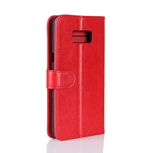 La cubierta de la caja de la cartera del teléfono para Samsung S8. GOGME Samsung S8 Flip Funda Funda para Teléfono, Premium PU Cartera de Cuero Conector para Celular, Celular Skin Poche Magnéticas Car rojo