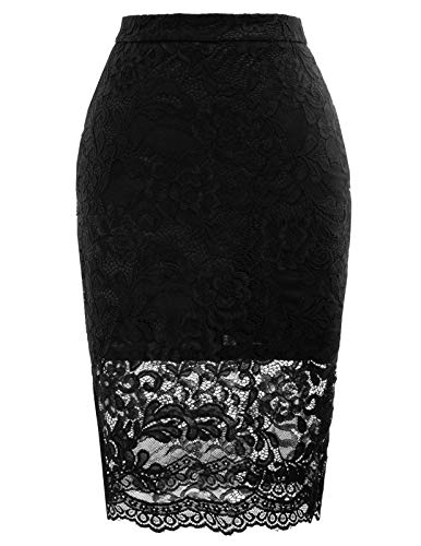 Women's Bodycon Pencil Skirt with Lace Pattern Hip-Wrapped XXL Black