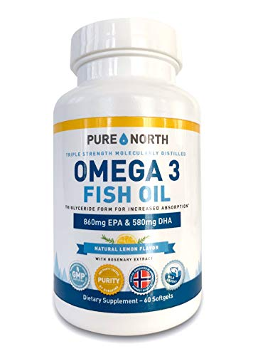 Pure North - Fish Oil Omega 3 Triglyceride Form, 1600mg Premium Concentrated, 60 Softgels, DHA & EPA with Natural Lemon Flavor