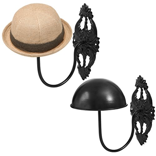 MyGift Set of 2 Wall-Mounted Black Metal Hat & Wig Display Racks
