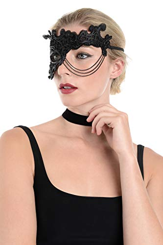 - Zac's Alter Ego Black Mesh & Rubber Masquerade Mask with Hanging Tripe Chain