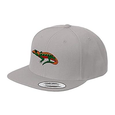 Gecko Embroidered Flat Visor Snapback Hat Silver