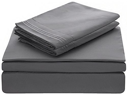 Lux Decor Collection Bed Sheet Set - Brushed Microfiber 1800 Bedding - Wrinkle, Stain and Fade Resistant - Hypoallergenic - 4 Piece (Queen, Embroidery (Queen Hotel Collection Embroidery)