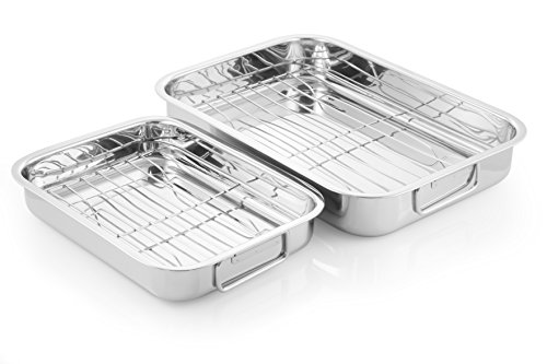 McSunley 508 2 Piece Prep N Cook Rectangular Oven-To-Table Roaster Set, Stainless Steel, One size