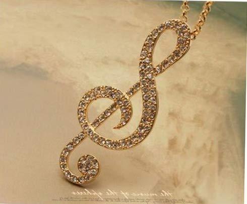 - Florance Jones Women Gold Music Note Rhythm Crystal Sweater Necklace Pendant Korean Fashion| Model NCKLC - 2866 |
