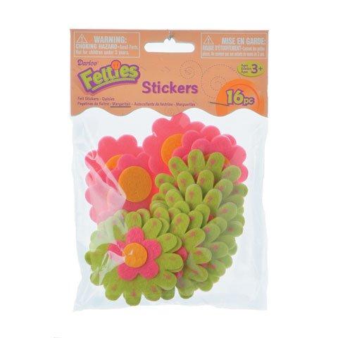Bulk Buy: Darice Crafts for Kids Felties Felt Stickers Crazy Daisies (3-Pack) FLT-1664