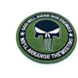 Punisher God Will Judge Our Enemies Verde Bordado Airsoft Velcro Patch