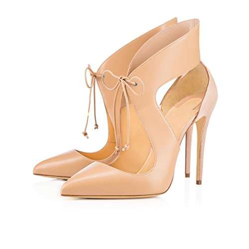 Pointed Lace Toe Shoes Heel EDEFS Up Shoes Beige Stiletto Dress Court Womens Pumps High nT66fHx