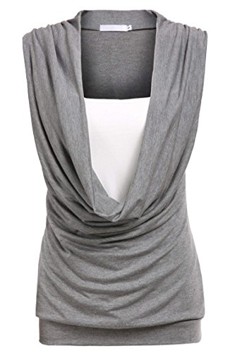 ELESOL Women's Casual Cotton Stretchy Top V neck Solid Color Fashion T Shirt Gray XXL