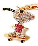 Elfstore Special 3D Snoopy on Skateboard Pink Luxury Figure New Fashion Rhinestone Crystal Key chain Purse Clipper Chain Gift Comes with Wooden Textured Charms for Good Luck