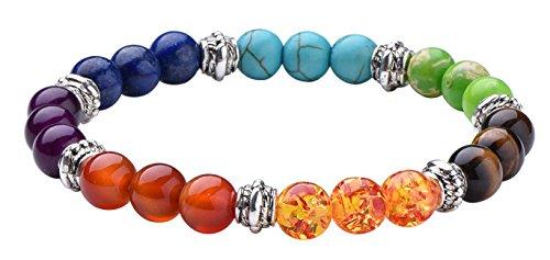 7 Chakra Stone Bracelet Crystal Reiki Healing Balancing Round Beads (Organic Leather Bangle)