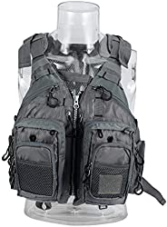 Fishing Vest, Multiple Pockets and Loops, Reflective Straps, Adjustable Shoulder & Waist Strap for Adult D