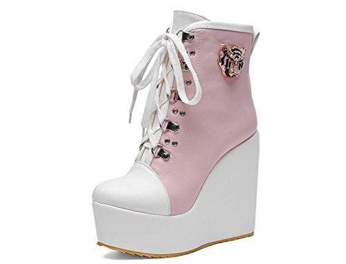 Oxfords Carrera Las Del Aire Planos Lace Comfort Libre Zapatos Al La Tobillo Mujeres Cuña up Cargadores Lvyuan Pink Botas Alto Martin Charol Flatform Talón Y Oficina De IzqpTTxnw5