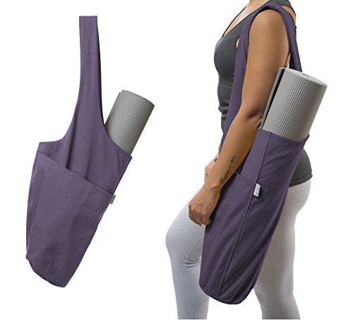 (Yogiii Yoga Mat Bag | The Original YogiiiTote | Yoga Mat Tote Sling Carrier w/Large Side Pocket & Zipper Pocket | Fits Most Size Mats (Imperial Purple))