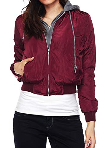Cambridge Select Women's Double Layer Zip Hoodie Cropped Bomber Jacket (Small, Burgundy) ()