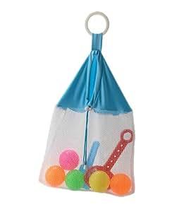 Pomfitis Mesh Net Laundry/Stroller/Bath Toy Organizer Storage Bag, Beach Tote, Light Blue, 1-Pack