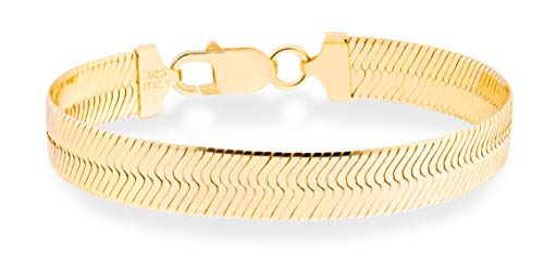"MiaBella 18K Gold Over 925 Sterling Silver Italian Solid 10mm Flat Herringbone Chain Bracelet Men Women 7"", 7.5"" (7)"