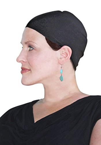 Bamboo Wig Cap and Soft Chemo Hat Liner for Hair Loss (BLACK)