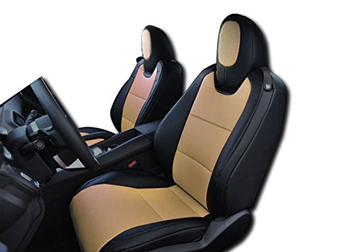 2010-2015 Chevy Camaro Black/Beige Artificial leather Custom fit Front seat - Beige Camaro