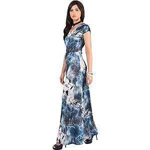 a6e8d1e3920fd KOH KOH Petite Women Long Cap Short Sleeve Floral Print V-Neck Boho Flowy  Summer Casual Formal Sexy Sundress Sundresses Gown Gowns Maxi Dress Dresses