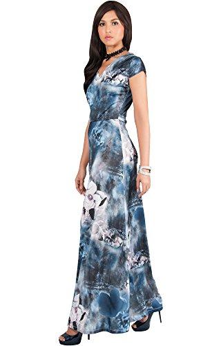 KOH KOH Womens Long Cap Short Sleeve Floral Print V-Neck Boho Flowy Summer Casual Formal Sexy Sundress Sundresses Gown Gowns Maxi Dress Dresses, Blue Gray M 8-10