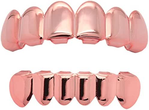 L & L Nation Rose Gold Plated Hip Hop Caps Custom Fit Top & Bottom Grillz Set Teeth Grills Mouth