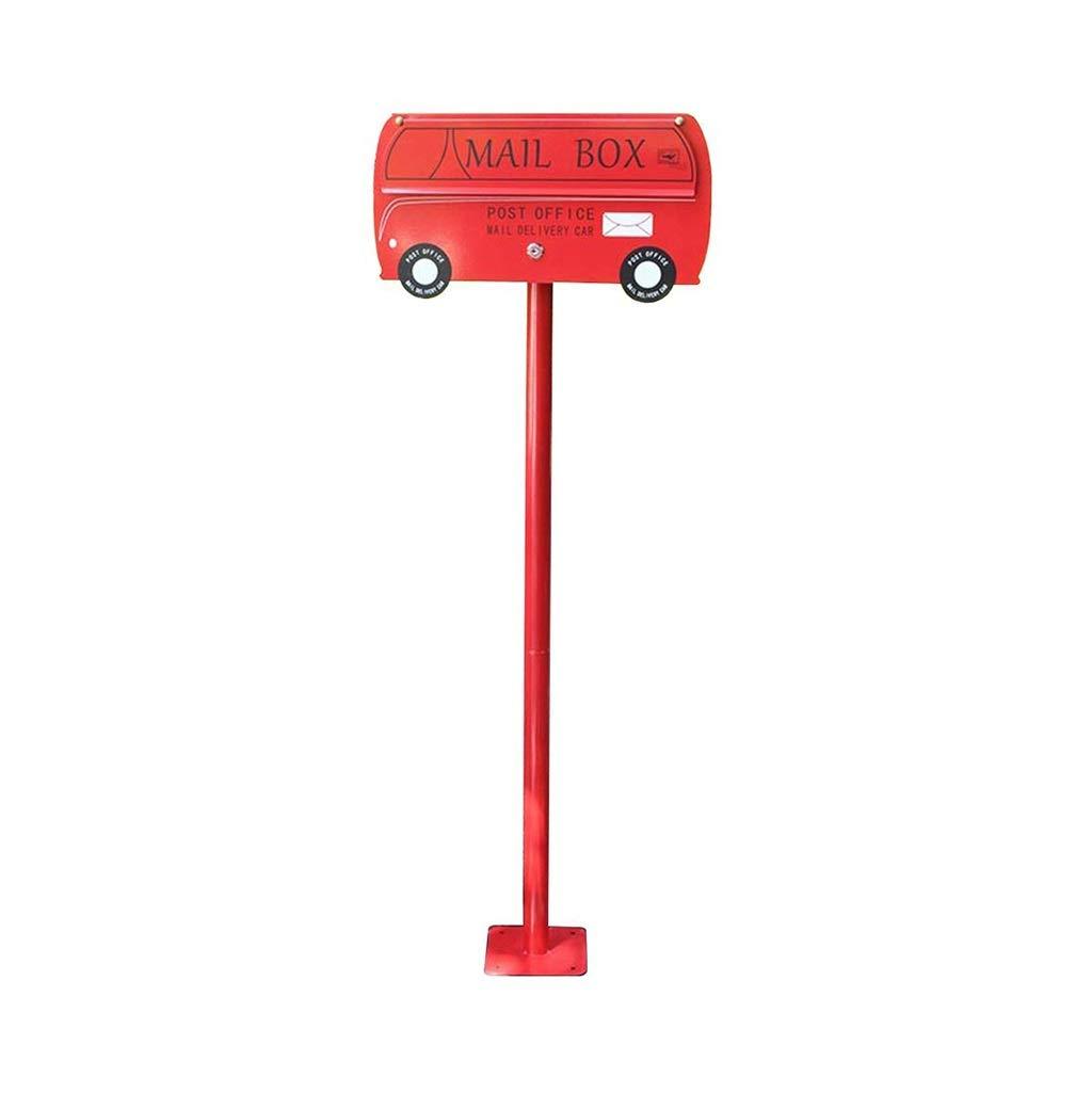 YANFEI Mailbox メールボックス、カーシェイプオイルドラム、装飾メールボックス、メールボックス、別荘の庭のポールメールボックス、2色 (Color : Red)  Red B07SRT556K