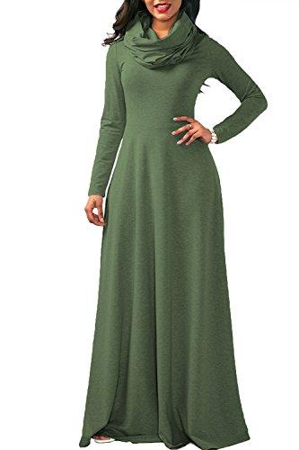 YACUN La Mujer Casual Manga Larga Cowl Neck Long Maxi Vestido Invierno Swing Green