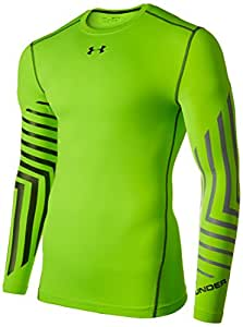 Under Armour Men's ColdGear Armour Graphic Compression Crew, Hyper Green/Stealth Gray, Small