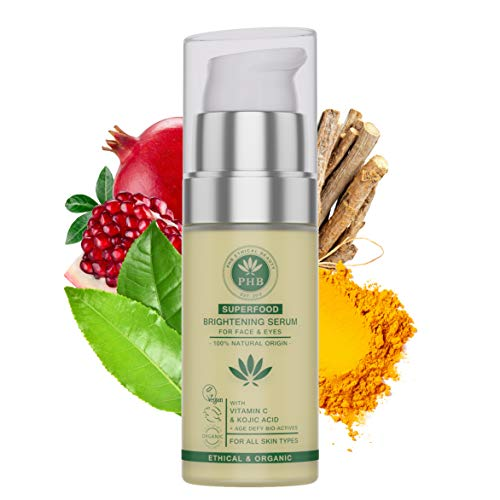 Eye and Face Serum with Kojic and Hyaluronic Acid. A 2-IN-1 Organic Face Brightening Serum for Dark Circles, Eye Puffiness and Wrinkles. 30 ml (Best Way Pomegranate Seed Removal)