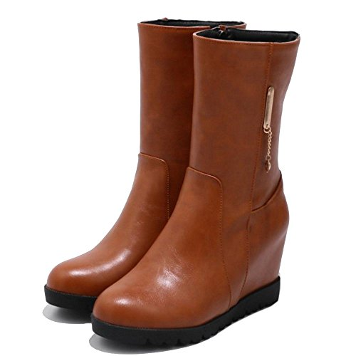 Heel Zipper COOLCEPT Hidden Brown Boots Women OxTPpTq1
