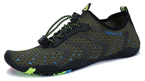 PENGCHENG Water Sports Shoes Men Women Beach Swim Barefoot Skin Quick-Dry Aqua Socks A1-green