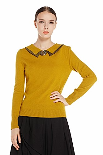 Miuk Women's 100% Cashmere Long Sleeve Pullover Sweater Polo-neck Yellow S