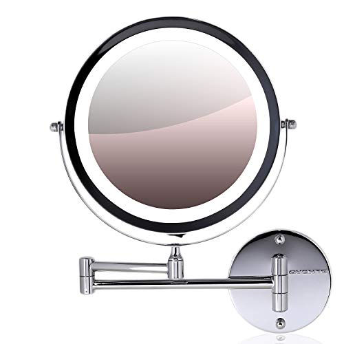 (Ovente Wall Mount Makeup Mirror, Battery Operated LED Lighted, 1x/10x Magnification, 8.5 inch, Polished Chrome (MFW85CH1x10x))