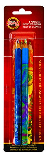 Koh-I-Noor Magic FX Pencils, 5-Pack - Original, Tropical, Neon, America and Fire (FA3405.5BC)