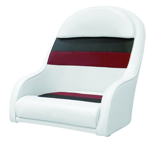 - Wise 8WD120LS-1009 Pontoon Captains Bucket Seat, White/Charcoal/Red