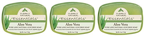 (Clearly Naturals Glycerine Aloe Vera Bar Soap (Pack of 3) With Glycerin, Sodium Stearate, Sorbitol, Propanediol, Aloe Vera, Natural Fragrance and Essential Oils, 4 oz. each)