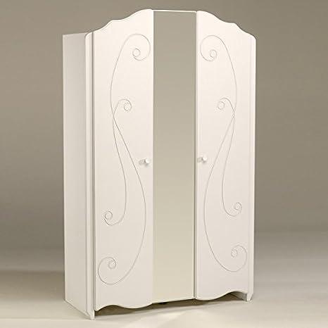 Kleiderschrank weiß 2 Türen B 116 cm Schrank Drehtürenschrank Wäscheschrank  Spiegelschrank Kinderzimmer Jugendzimmer