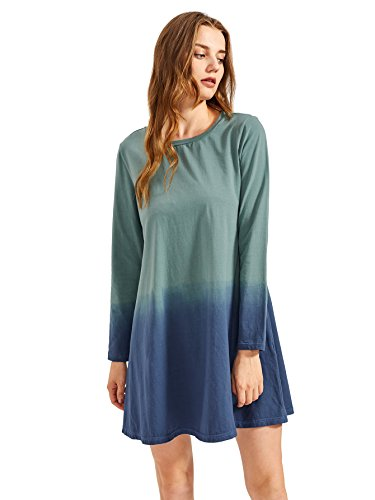 953441902 Galleon - Romwe Women's Tie Dye Ombre Tunic Swing Long Sleeve Dress  Multicolor S